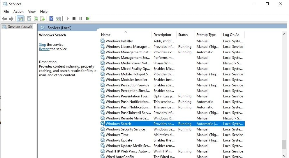 Fix the Issue in Windows Search Service