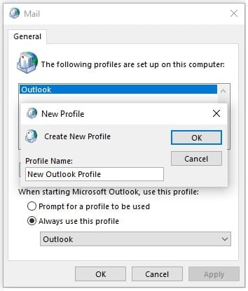 Create New Outlook Profile