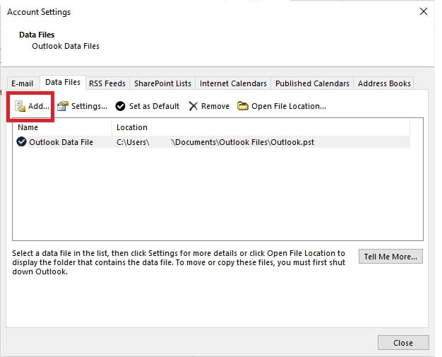 Add PST File in Outlook
