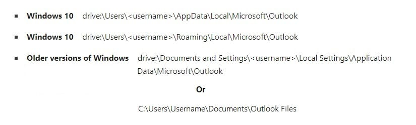 Outlook paths under different versions of Windows