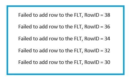 """""""Failed to add row to the FLT"""" Error"""