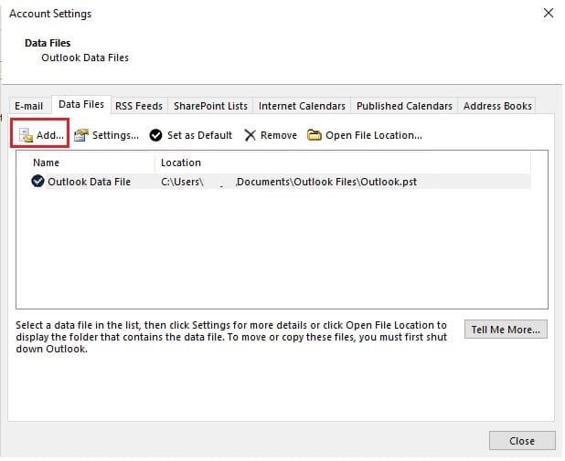 Add Outlook Data Files