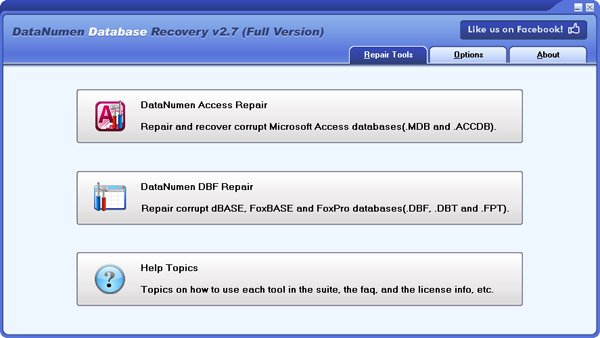 MS Access and DBF database recovery suite.