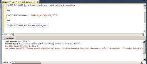 erro de E / S baseado em consistência lógica: soma de verificação incorreta